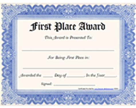 1st Place Certificate Template Free by Free Printable 1st Place Award Certificate Templates