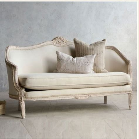 Shabby Chic Settee Furniture by Vintage Pink White Oval Canape In Louis Xv Style