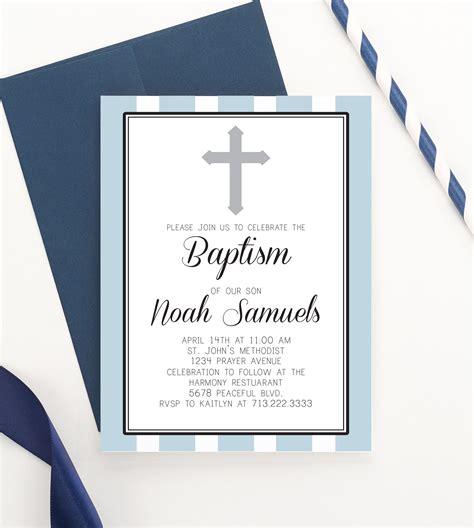 Simple and Modern Baptism Invitations Boy Christening