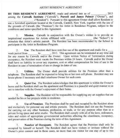 sample artist agreement templates word pages