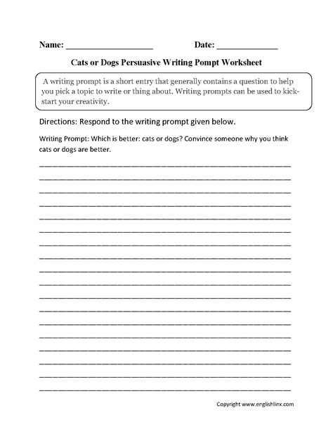 essay writing cats persuasive dogs better than prompt worksheet why worksheets prompts topic englishlinx example