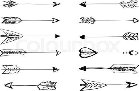 hand drawn vector arrows  feathers doodle elements