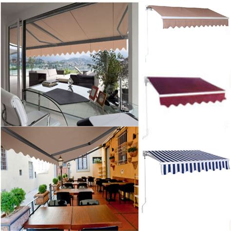 manual patio retractable deck awning sunshade shelter canopy outdoor  ebay
