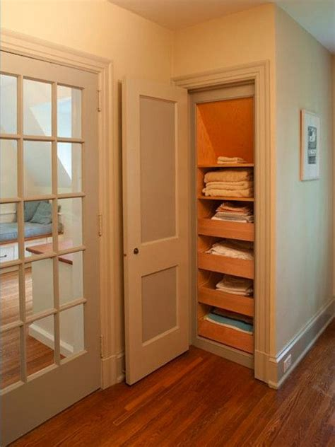 Small Narrow Closet Organization Ideas by Pull Out Drawers In The Linen Closet Great Idea No More