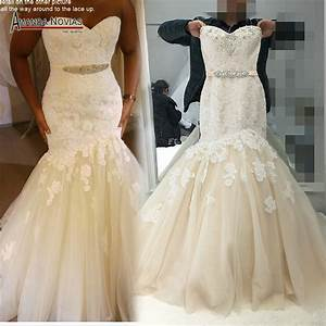 2017 champagne with ivory color wedding dress mermaid real With ivory color wedding dress