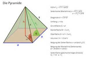 pyramide grundfläche pyramide berechnen matheretter