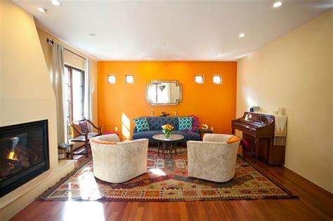 decoration salon mur orange
