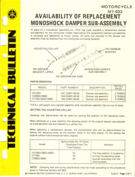 technical bulletin template word yamaha yz250e 1978 factory owners manual manual yamaha yz250e owners the chi company