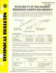 yamaha yz250e 1978 factory owners manual manual With technical bulletin template word