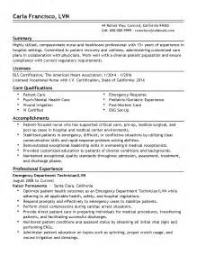 emergency room resume exles emergency room technician resume sle