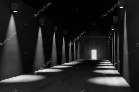 Rendu 3d De La Salle Vide, éclairage Dramatique, Porte