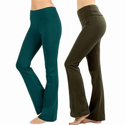Yoga Pants Bootleg Cotton Workout Womens Stretch