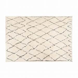 jiddeth tapis tufte 170x240cm en coton noir et blanc With tapis coton tufté
