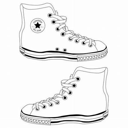 Outline Shoe Template Converse Shoes Boots Sneaker