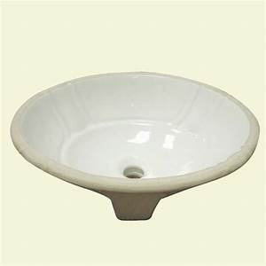 Decorative undermount biscuit lavatory with overflow for Decorative undermount bathroom sinks
