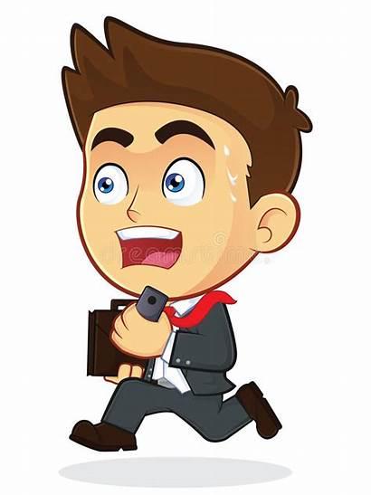 Clipart Running Businessman Cartoon Character Panic Male