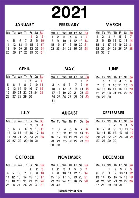 calendar  paper size printable  purple