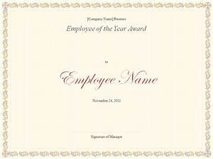 Employee Certificate Templates Free Employee Of The Year Award Template