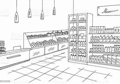 Grocery Sketch Illustration Interior Vector Graphic Cartoon