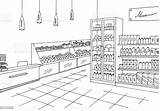 Store Sketch Illustration Grocery Interior Vector Graphic Drawing Supermarket Clipart Outline Shopping Aisle Clip Cartoon Business Coloring Pages Line Colored sketch template