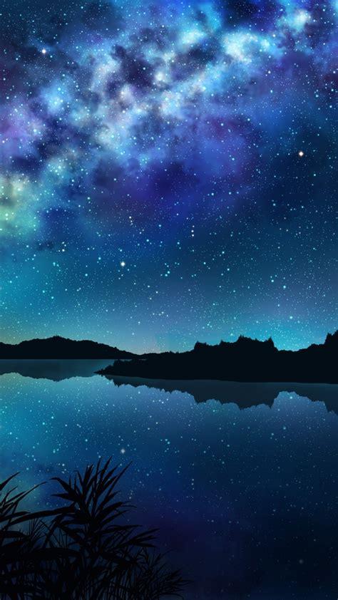 anime landscape river night stars