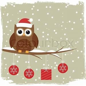 Winter card with cute owl | Stock Vector | Colourbox