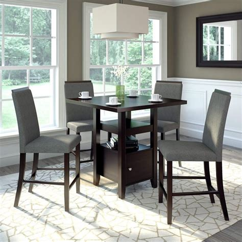 pc counter height rich cappuccino dining set pewter