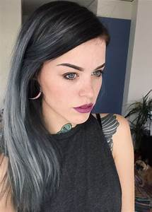 Picture Of black hair with silver grey highlights