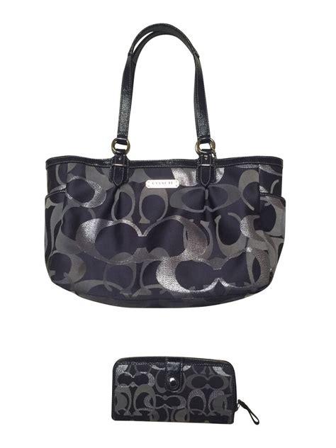 authentic coach purse  optic metallic signature   matching wallet ebay