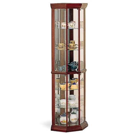 corner cabinet lowes coaster furniture cherry curio cabinet at lowes