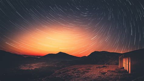 wallpaper sunset milky  star trail dusk  nature