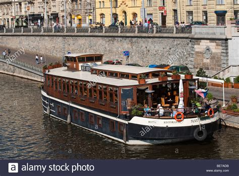 Marina Boat Restaurant by Restaurant Boat On Vltava River Prague Republic