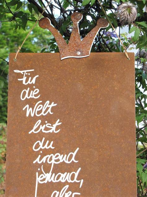 Gartendeko Welt by Edelrost Schild Mit Krone Quot Welt Quot Garden Dekoshop