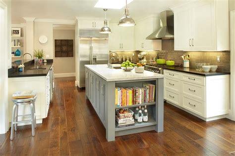 Gray Center Island With Cookbook Shelves