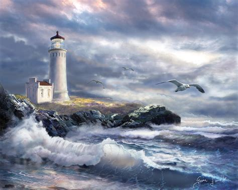 the light house lighthouse at the of a painting by