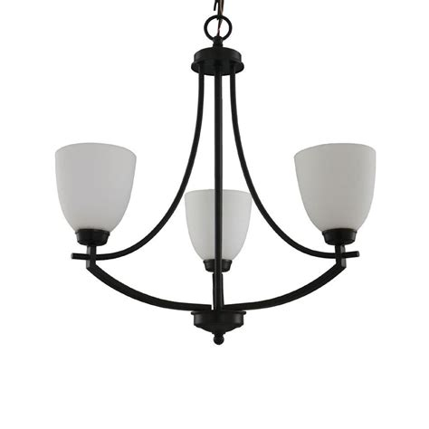 Glass Shades For Chandelier by Hton Bay 3 Light Bronze Chandelier With White Frosted