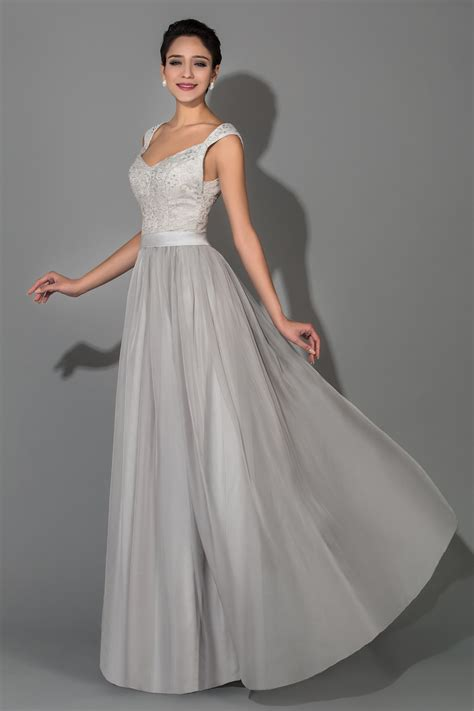 Grey Chiffon Lace Long Plus Size Mother of the Bride ...