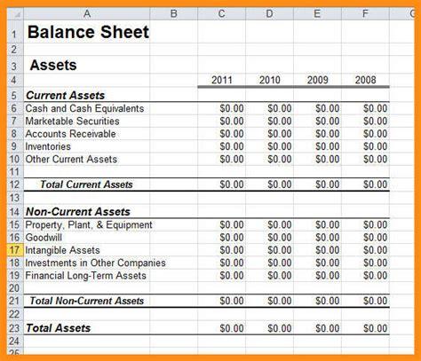 6 sle balance sheet excel free odr2017
