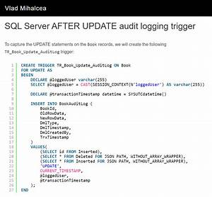 Sql Server Audit Logging Using Triggers