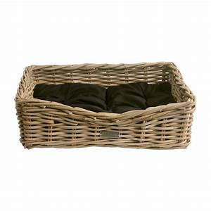 oblong grey wicker dog basket in 3 sizes With cheap dog baskets