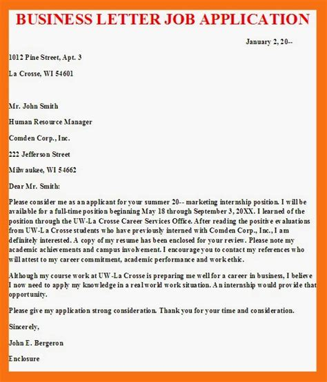 business letter business letter application