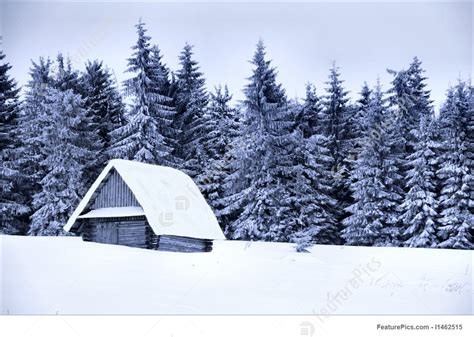 image  snow covered cottage