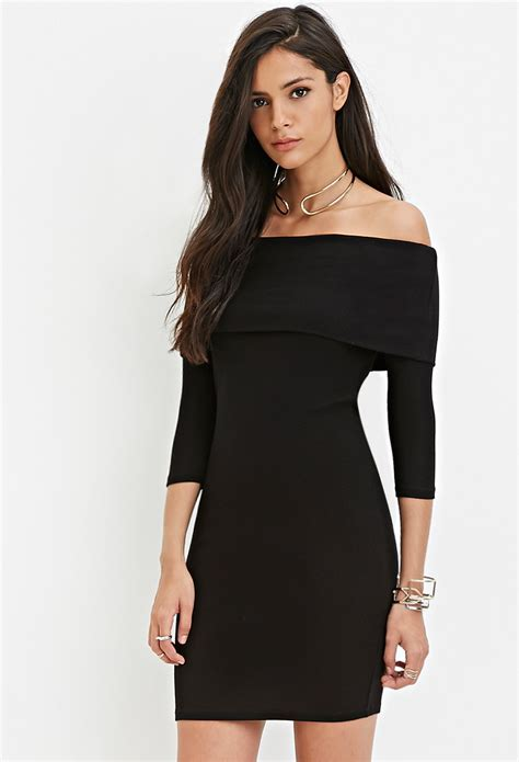 forever 21 sweater dress forever 21 the shoulder sweater dress in black lyst