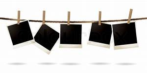 Collection of blank images hanging on a piece of string ...
