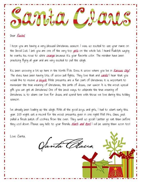 religious focused santa letters personalized letter