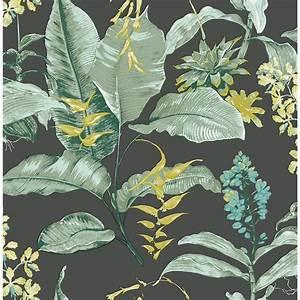 Kenneth James Maui Black Botanical Wallpaper