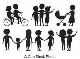 Vector illustration of stick kids with grandpa vectors ...
