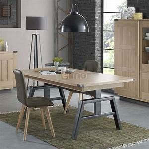 table rectangulaire de salle a manger plateau chene massif With meuble salle À manger avec table a manger gigogne