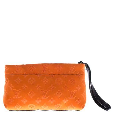 louis vuitton orange monogram neoprene limited edition scuba clutch  sale  stdibs