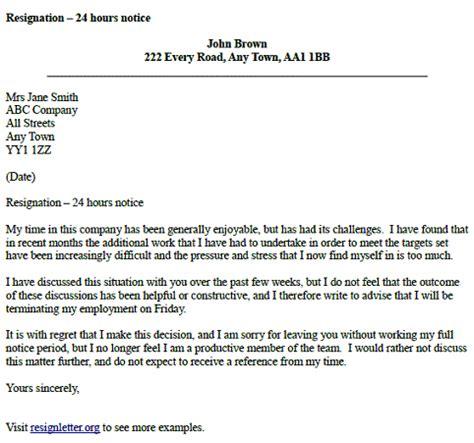 resignation letter   hours notice resignletterorg